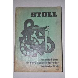 STOLL C-BUNKERKOPFRODER 1968 ERSATZTEILLISTE SPARE PARTS LISTINO PARTI RICAMBIO