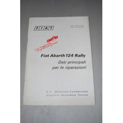 FIAT ABARTH 124 RALLY DATI PRINCIPALI PER LE RIPARAZIONI 1973 OTTIMO