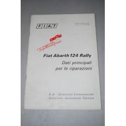 FIAT ABARTH 124 RALLY DATI PRINCIPALI PER LE RIPARAZIONI 1973 QUALCHE ALONE