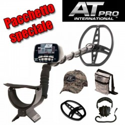 GARRETT AT PRO INTERNATIONAL METAL DETECTOR + SALVAPIASTRA CUFFIA BORSA CAPPELLINO