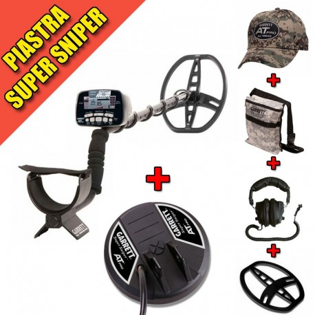GARRETT AT PRO INTERNATIONAL METAL DETECTOR + PIASTRA SUPER SNIPER + ACCESSORI
