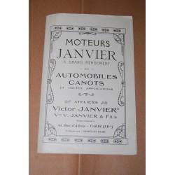 BROCHURE MOTEURS JANVIER A GRAND RENDMENT pour AUTOMOBILES CANOTS