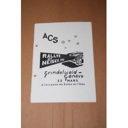 ACS RALLYE DES NEIGES 1952 GRINDELWALD GENEVE 22 MARS - OTTIMO