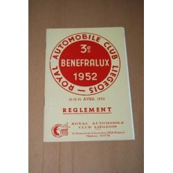 3e BENEFRALUX 1952 REGLEMENT 12-13-14 AVRIL 1952 - OTTIMO