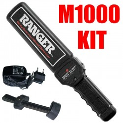 KIT COMPLETO RANGER METAL DETECTOR PALMARE HAND HELD BODY SCANNER M1000