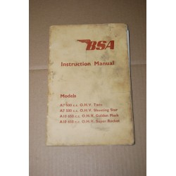 BSA INSTRUCTION MANUAL A7 500 TWIN SHOOTING STAR A10 650 GOLDEN FLASH ROCKET
