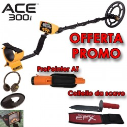 GARRETT ACE 300i METAL DETECTOR + PROPOINTER AT + COLTELLO SCAVO + OMAGGI