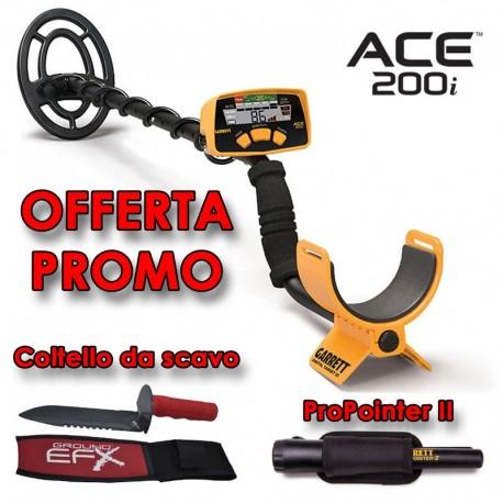 GARRETT ACE 200i METAL DETECTOR CERCA METALLI + PROPOINTER II + COLTELLO SCAVO