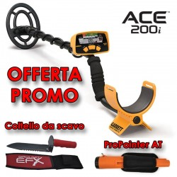 GARRETT ACE 200i METAL DETECTOR CERCA METALLI + PROPOINTER AT + COLTELLO SCAVO