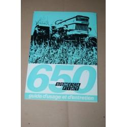 SOMECA FIAT 650 TRATTORI GUIDE D'USAGE ET D'ENTRETIEN 1971 - FRANCESE