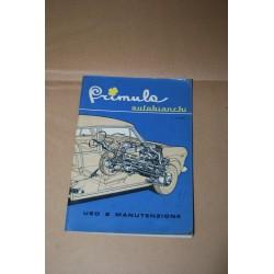 PRIMULA AUTOBIANCHI LIBRETTO USO MANUTENZIONE 3° EDIZIONE 1965
