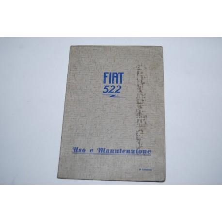 Libretto uso manutenzione FIAT 522 C & L anno 1931 - 2° ed. Molto buono