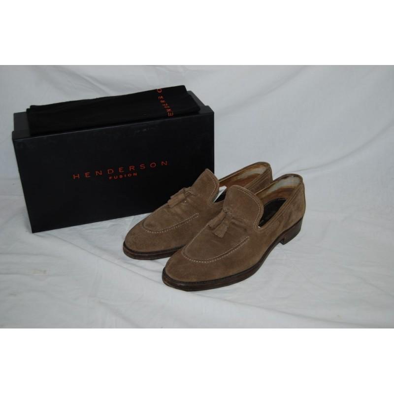 nuove varietà consegna veloce ampia selezione di design Henderson scarpe uomo mocassino scamosciato verde con nappe n° 42