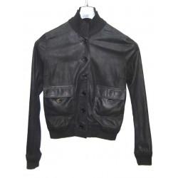 Valstarino giacca in pelle nero tg 46 pari nuovo