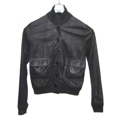 Valstarino giacca donna in pelle nero tg 46 pari nuovo