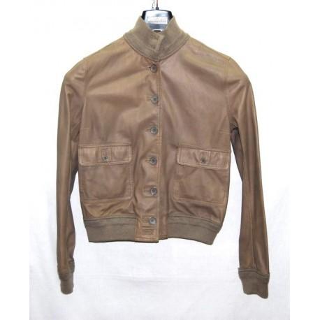 Valstarino giacca donna in pelle marrone chiaro tg 46 pari nuovo