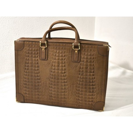 Vintage valigia morbida in coccodrillo nuova 51x36x10 cm