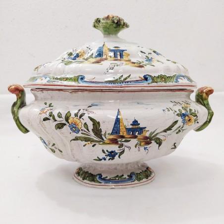 Zuppiera con coperchio in ceramica genovese metà 800