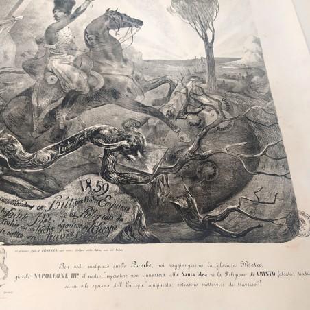 Antica stampa per Sottoscrizione Fucili di Garibaldi 71x93 cm