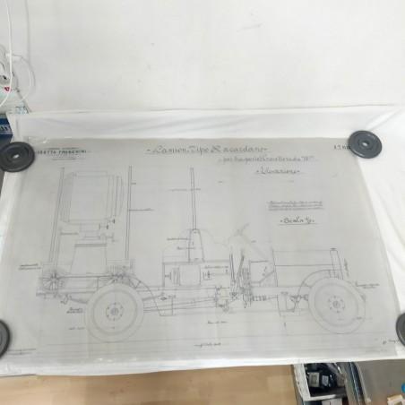 Disegno lucido ISOTTA FRASCHINI camion trasporto proiettore 75x120 cm