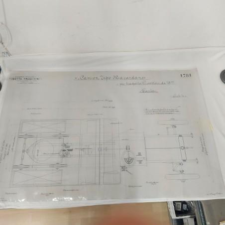 Disegno lucido progetto ISOTTA FRASCHINI camion trasporto 75x120 cm