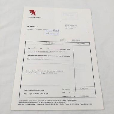 Lotto di 10 contratti / fatture TORINO CALCIO anni 90