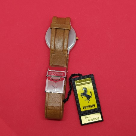 NOS Orologio polso FERRARI anni 90 cassa acciaio cinturino marrone nuovo
