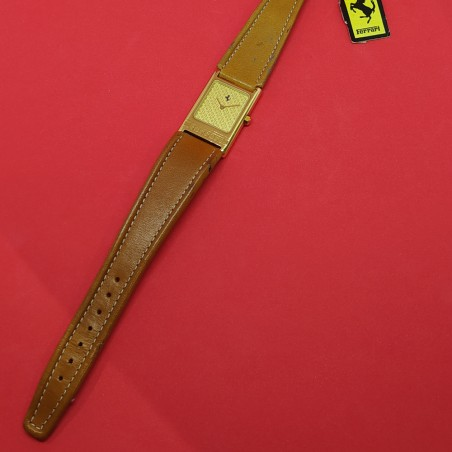 NOS Orologio polso uomo FERRARI '90 rettangolare cassa dorata cinturino marrone