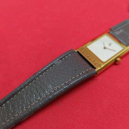 NOS Orologio polso uomo FERRARI '90 rettangolare cassa dorata cinturino grigio