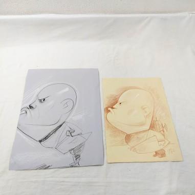 Due caricature originali di BENITO MUSSOLINI