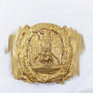 Fibbia da cintura in ottone dorato divisa fascista con aquila in corona a fasci