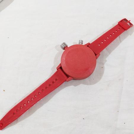LECRON conta secondi da polso meccanico in plastica rossa inusato