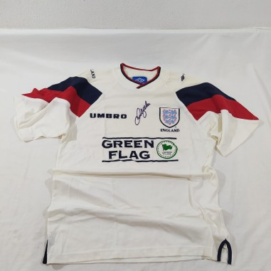 Maglia calcio Nazionale INGHILTERRA Green Flag con autografo Beckham