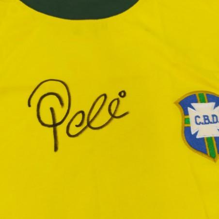 Maglia calcio BRASILE con autografo originale PELE'