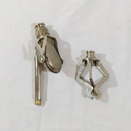 Cannochiale tascabile con piedistallo in acciaio anni 20/30