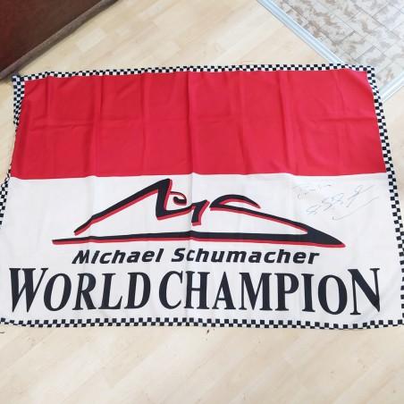 Bandiera MICHAEL SCHUMACHER WORLD CHAMPION con autografo originale