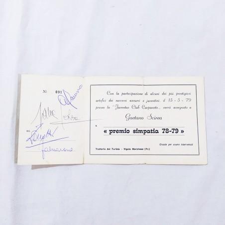 GAETANO SCIREA Autografo + foto + tessera Juventus club e varie firme