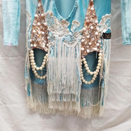 Abito da ballo latino americano, intero celeste tg S con perline e nappa