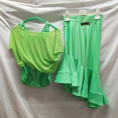 Abito da ballo latino americano, due pezzi, verde tg S