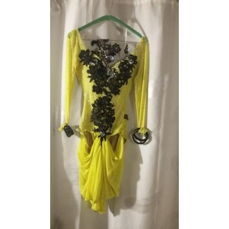 Abito da ballo latino americano, intero giallo tg S con accessori e strass