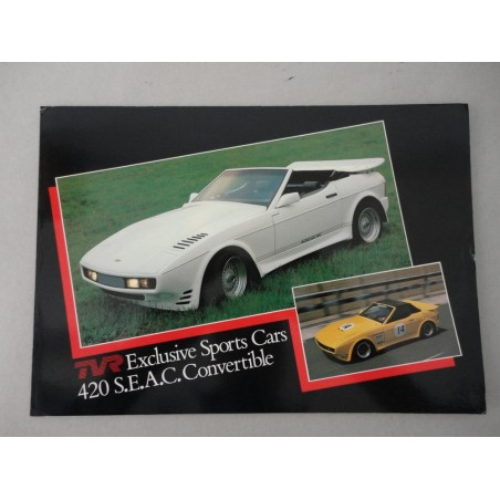 TVR EXCLUSIVE SPORTS CARS 420 S.E.A.C. CONVERTIBLE BROCHURE AUTO INGLESE 2 PAG.