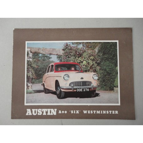 AUSTIN A90 SIX WESTMINSTER BROCHURE AUTO ITALIANO 2 PAG. N° 1153 COND. DISCRETE