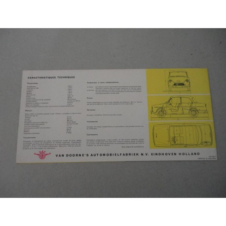 DAF 600 VARIOMATIC BROCHURE AUTO FRANCESE 3 PAG. REF. 2240 - OTTIMO