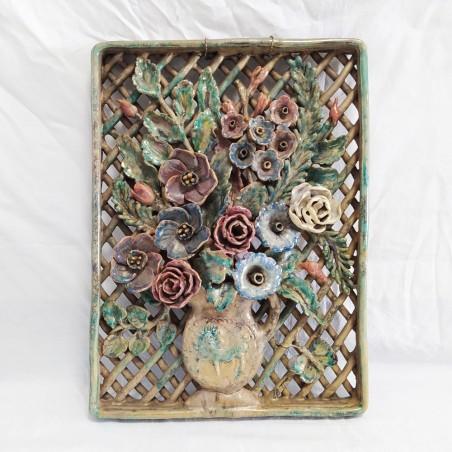 Coppia formelle in ceramica Riccardo Gatti Faenza soggetto fiori