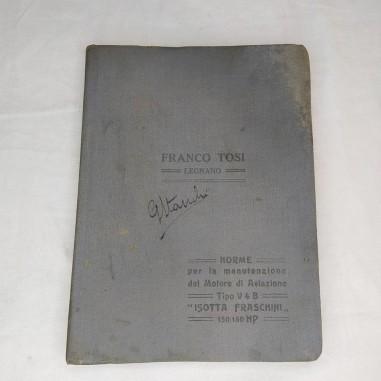 Libretto uso manutenzione Motore Aviazione VB4 Isotta Fraschini  150/160 HP