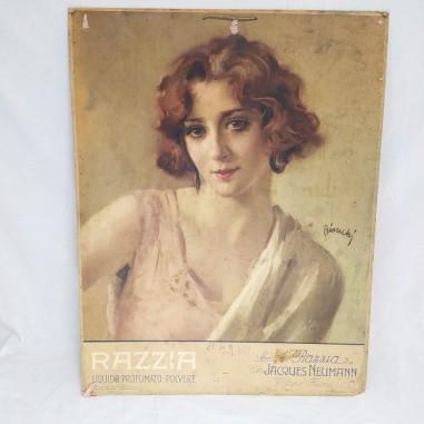 Poster promozionale RAZZIA liquido profumato disegnatore BIANCHI anni 30