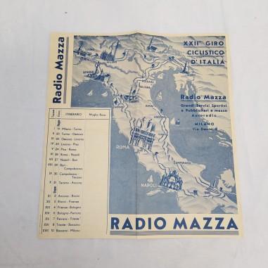 Opuscolo XXII Giro ciclistico d'Italia 1934 RADIO MAZZA 124x23 cm