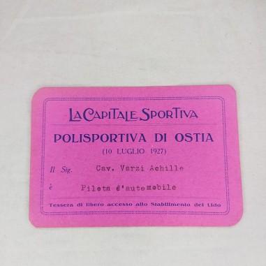 Tessera LA CAPITALE SPORTIVA Polisportiva di Ostia ACHILLE VARZI 1927