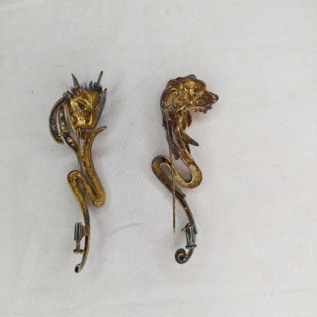 4 spille da giacca in argento anni 20/30 figure animali e maschere
