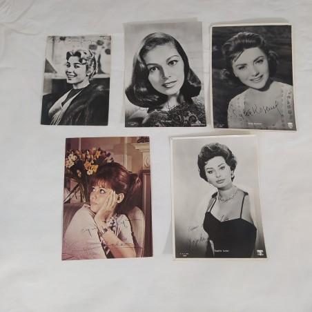 Lotto di 5 fotografie di attrici con autografi originali anni 60/70